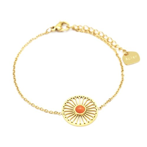 Bracelet-Fine-Chaine-avec-Charm-Fleur-Ajouree-Acier-Dore-et-Pierre-Orange