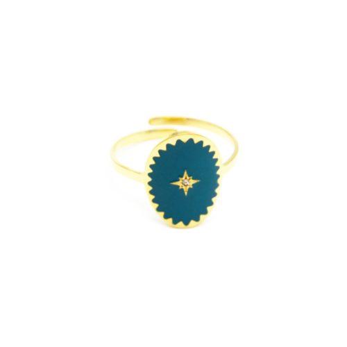 Bague-Reglable-Acier-Dore-avec-Ovale-Email-Bleu-Motif-Etoile-Polaire