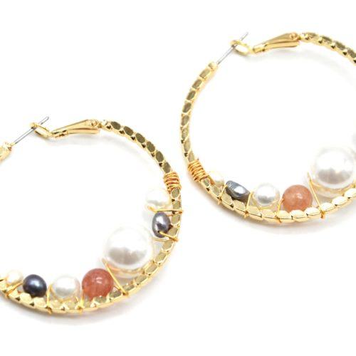 Boucles-dOreilles-Creoles-Relief-Acier-Dore-avec-Multi-Perles-Ecru-Gris-Ambre