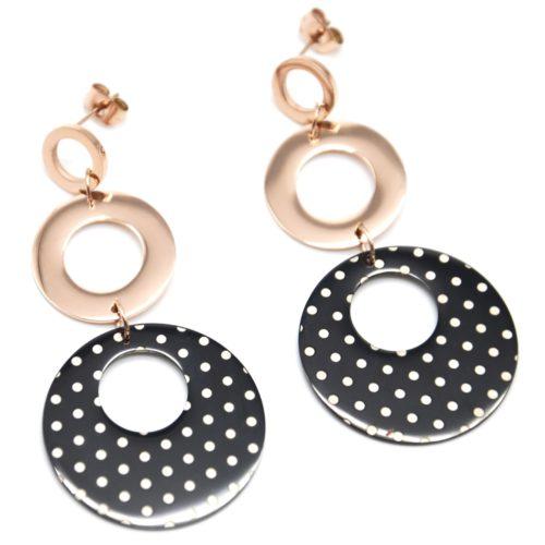 Boucles-dOreilles-Pendantes-Triple-Cercles-Acier-Or-Rose-Noir-Motif-Petits-Pois