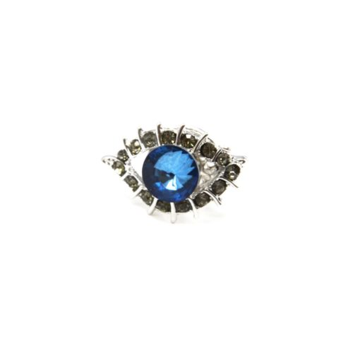 Mini-Broche-Pins-Oeil-Pierre-Bleue-Contour-Strass-Gris-et-Metal-Argente