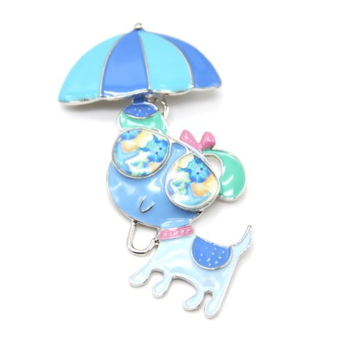 Broche-Chien-Metal-Peint-Bleu-avec-Parasol-et-Lunettes-de-Soleil
