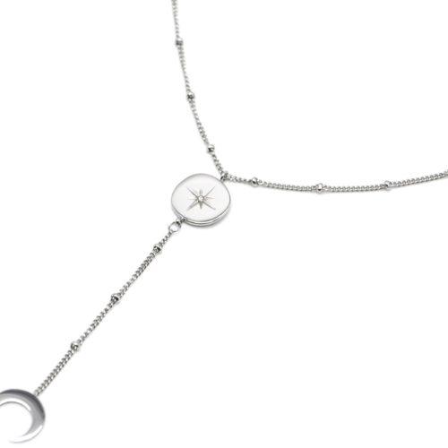 Collier-Fine-Chaine-Boules-Y-avec-Cercle-Etoile-Polaire-et-Corne-Acier-Argente