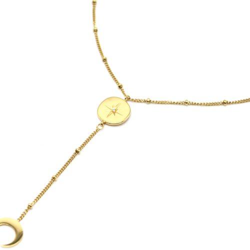 Collier-Fine-Chaine-Boules-Y-avec-Cercle-Etoile-Polaire-et-Corne-Acier-Dore