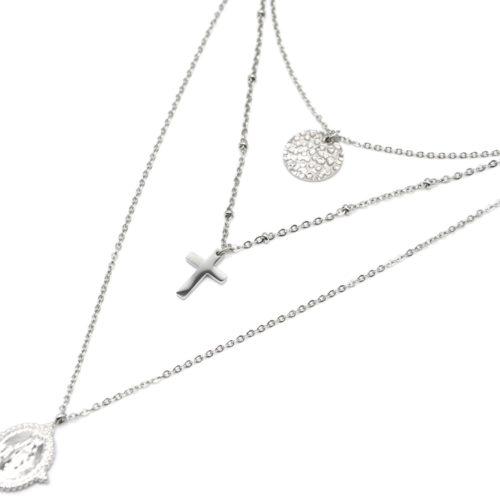Collier-Triple-Chaine-avec-Cercle-Martele-Croix-et-Vierge-Marie-Acier-Argente