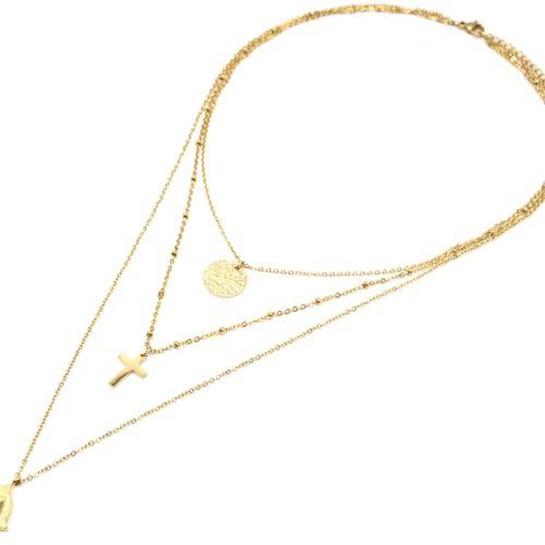Collier-Triple-Chaine-avec-Cercle-Martele-Croix-et-Vierge-Marie-Acier-Dore