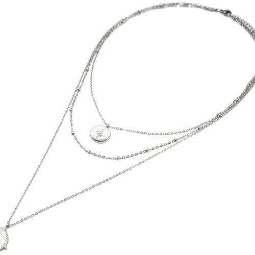 Collier-Triple-Chaine-avec-Cercles-Etoile-Polaire-et-Grave-Ethnique-Acier-Argente