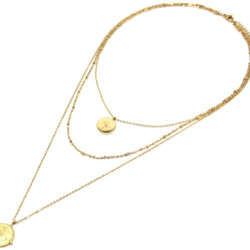 Collier-Triple-Chaine-avec-Cercles-Etoile-Polaire-et-Grave-Ethnique-Acier-Dore