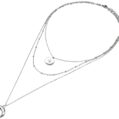 Collier-Triple-Chaine-avec-Cercle-Etoile-Polaire-et-Corne-Points-Acier-Argente