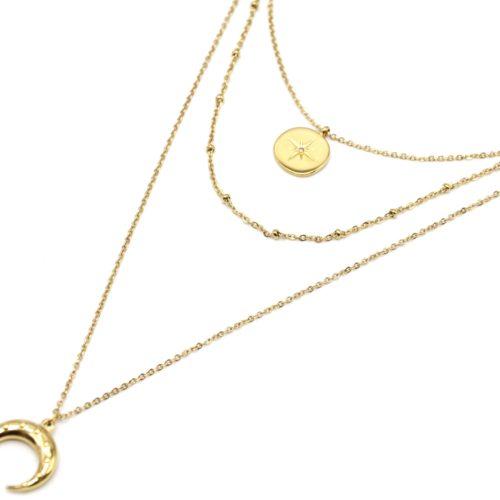 Collier-Triple-Chaine-avec-Cercle-Etoile-Polaire-et-Corne-Points-Acier-Dore