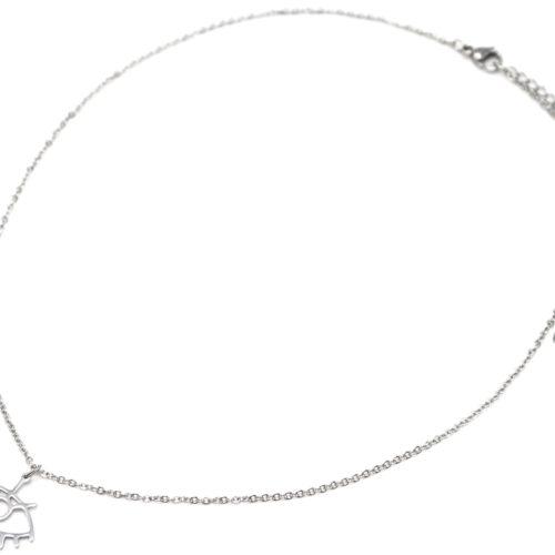 Collier-Fine-Chaine-avec-Pendentif-Oeil-Contour-Acier-Argente