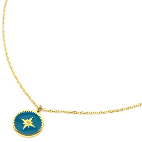 Collier-Fine-Chaine-Acier-Dore-avec-Cercle-Email-Bleu-Motif-Etoile-Polaire