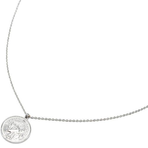 Sautoir-Collier-Fine-Chaine-avec-Piece-Monnaie-Napoleon-Acier-Argente