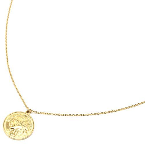 Sautoir-Collier-Fine-Chaine-avec-Piece-Monnaie-Napoleon-Acier-Dore