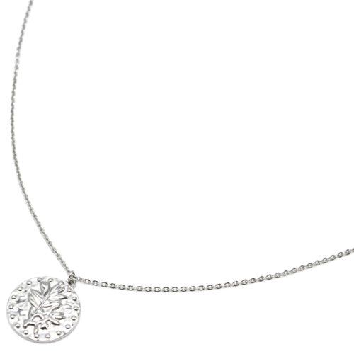 Sautoir-Collier-Fine-Chaine-avec-Medaille-Martelee-Laurier-et-Points-Acier-Argente
