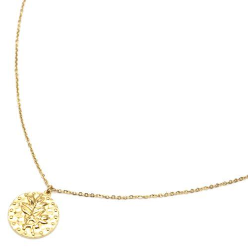 Sautoir-Collier-Fine-Chaine-avec-Medaille-Martelee-Laurier-et-Points-Acier-Dore