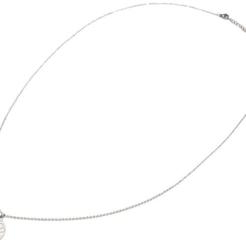 Sautoir-Collier-Fine-Chaine-avec-Medaille-Martelee-Ange-et-Points-Acier-Argente