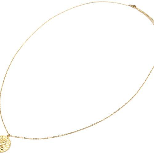 Sautoir-Collier-Fine-Chaine-avec-Medaille-Martelee-Ange-et-Points-Acier-Dore