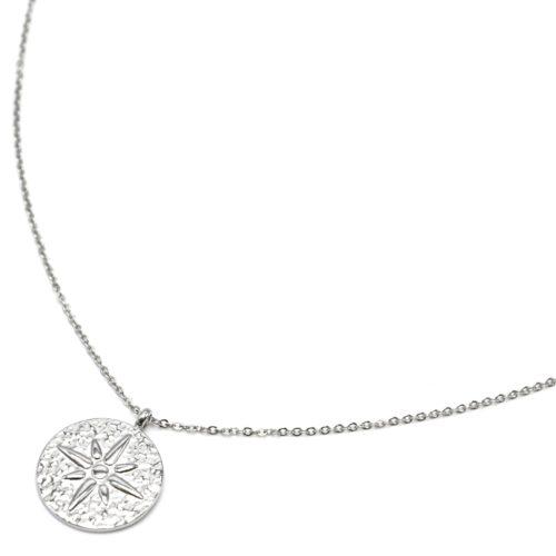 Sautoir-Collier-Fine-Chaine-avec-Medaille-Martelee-Etoile-Polaire-Acier-Argente