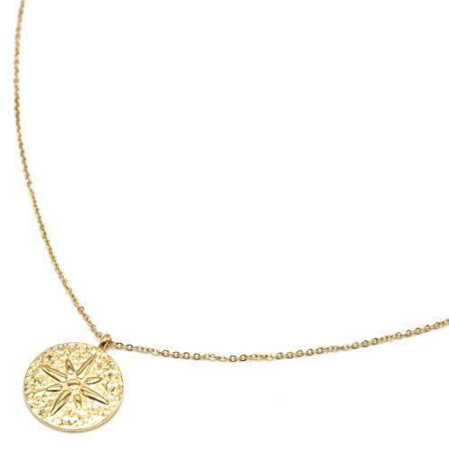 Sautoir-Collier-Fine-Chaine-avec-Medaille-Martelee-Etoile-Polaire-Acier-Dore