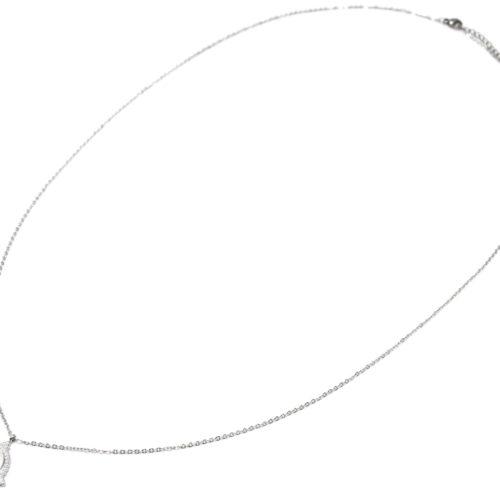 Sautoir-Collier-Fine-Chaine-avec-Medaille-Rayures-Croix-Contour-Points-Acier-Argente