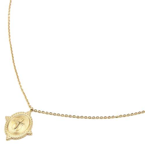 Sautoir-Collier-Fine-Chaine-avec-Medaille-Rayures-Croix-Contour-Points-Acier-Dore
