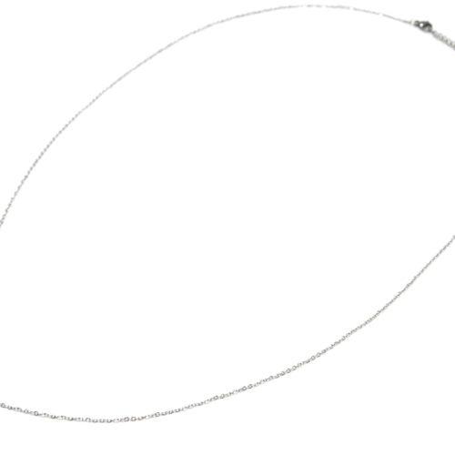 Sautoir-Collier-Fine-Chaine-avec-Cercle-Etoile-Polaire-Contour-Points-Acier-Argente