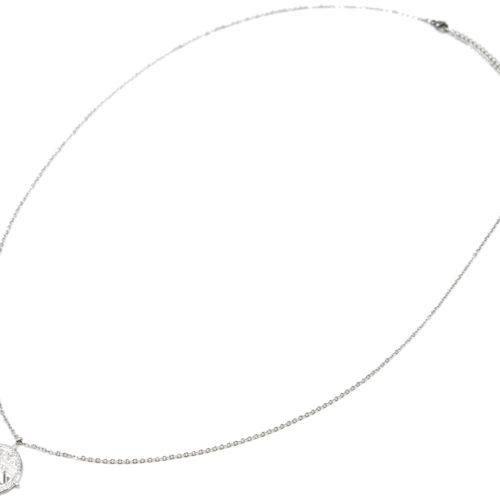 Sautoir-Collier-Fine-Chaine-avec-Cercle-Grave-Ethnique-Contour-Points-Acier-Argente