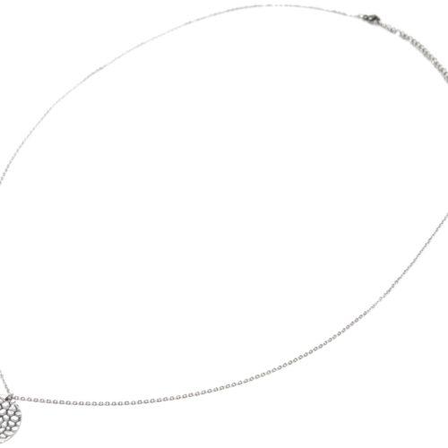 Sautoir-Collier-Fine-Chaine-avec-Pendentif-Medaille-Martelee-Acier-Argente