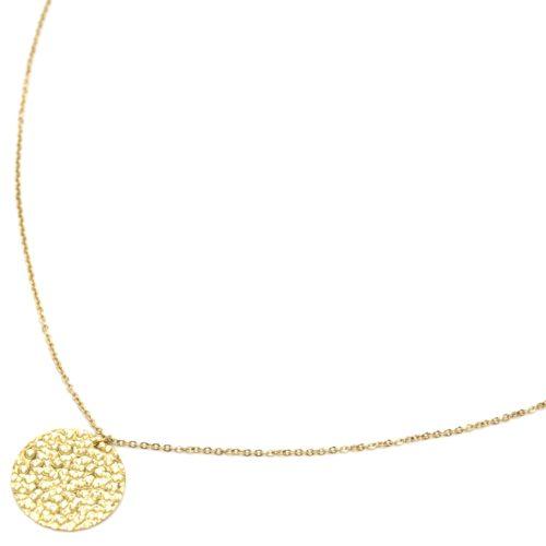 Sautoir-Collier-Fine-Chaine-avec-Pendentif-Medaille-Martelee-Acier-Dore
