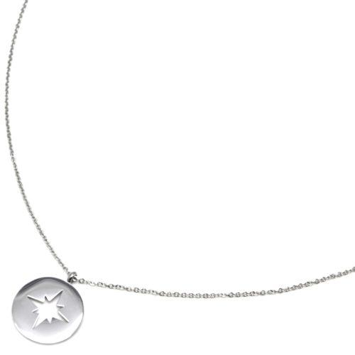 Sautoir-Collier-Fine-Chaine-avec-Medaille-Acier-Argente-Motif-Ajoure-Etoile-Polaire