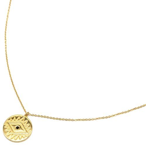 Sautoir-Collier-Fine-Chaine-avec-Medaille-Gravee-Oeil-Acier-Dore