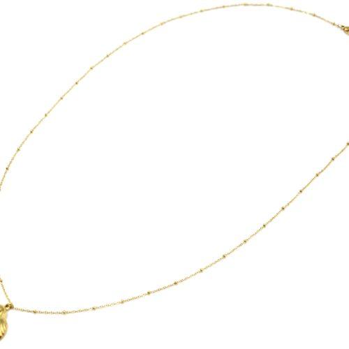 Sautoir-Collier-Chaine-Boules-avec-Coquillage-Relief-Acier-Dore