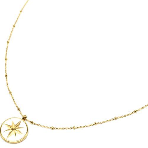 Sautoir-Collier-Chaine-Boules-Acier-Dore-avec-Cercle-Blanc-Motif-Etoile-Polaire