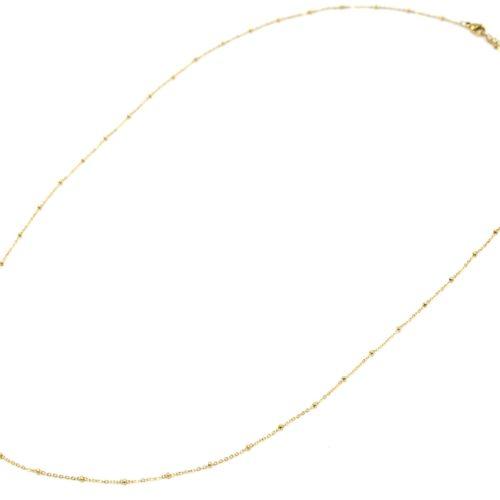 Sautoir-Collier-Chaine-Boules-Acier-Dore-avec-Cercle-Orange-Motif-Etoile-Polaire