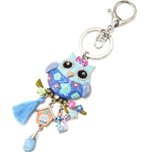 Porte-Cles-Bijou-de-Sac-Hibou-Metal-Peint-Bleu-avec-Fleurs-Charms-et-Pompon