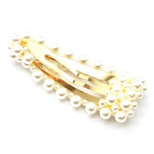 Pince-Cheveux-Metal-Dore-Ajoure-avec-Multi-Perles-Assorties-Ecru