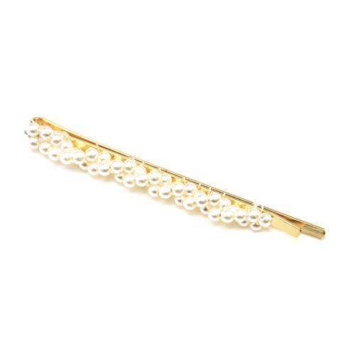Barrette-Cheveux-Metal-Dore-avec-Mini-Perles-Torsadees-Ecru