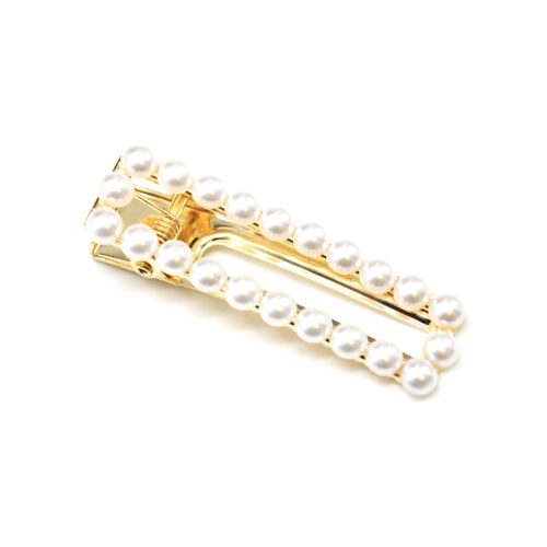 Barrette-Pince-Cheveux-Rectangle-Metal-Dore-avec-Contour-Perles-Ecru