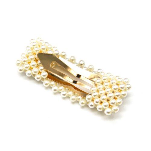Pince-Cheveux-Metal-Dore-Rectangle-Ajoure-avec-Multi-Perles-Ecru
