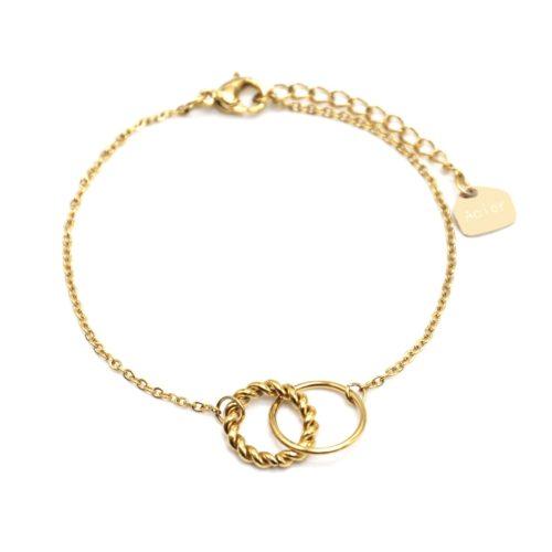 Bracelet-Fine-Chaine-avec-Charm-Cercles-Torsade-et-Contour-Acier-Dore