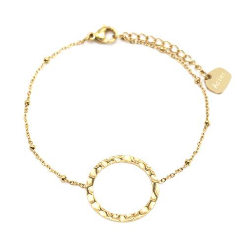 Bracelet-Chaine-Boules-avec-Charm-Cercle-Contour-Martele-Acier-Dore