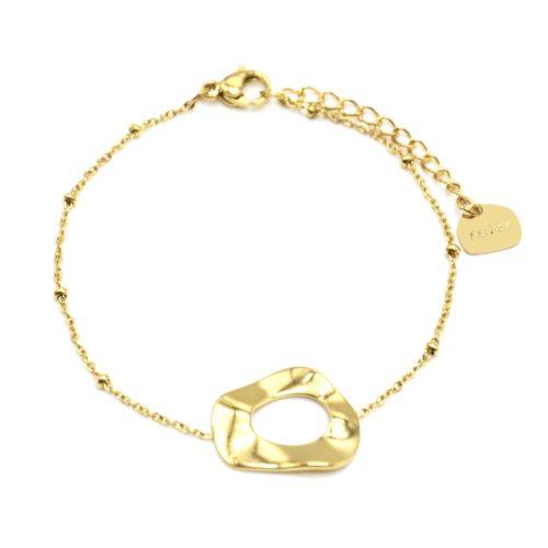 Bracelet-Chaine-Boules-avec-Charm-Forme-Contour-Martele-Acier-Dore