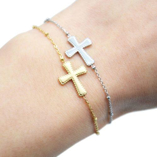 Bracelet-Chaine-Boules-avec-Charm-Croix-Contour-Points-Acier