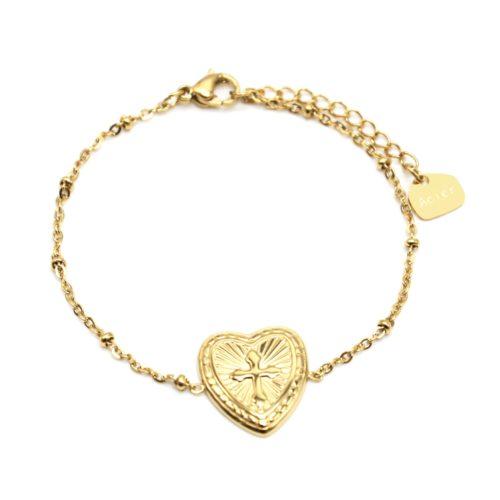 Bracelet-Chaine-Boules-avec-Charm-Coeur-Grave-Croix-Acier-Dore