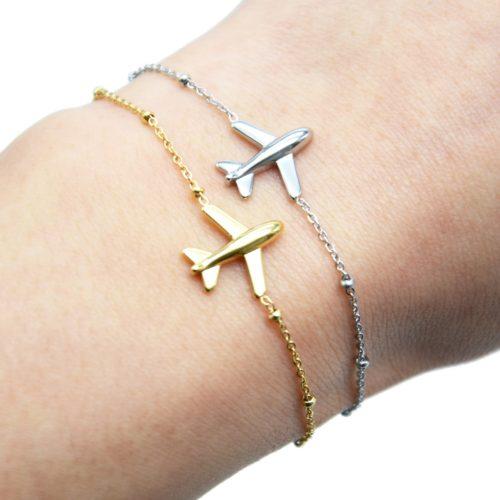 Bracelet-Chaine-Boules-avec-Charm-Avion-Acier