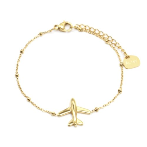Bracelet-Chaine-Boules-avec-Charm-Avion-Acier-Dore