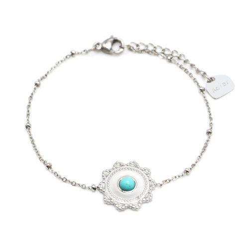 Bracelet-Chaine-Boules-avec-Charm-Soleil-Acier-Argente-et-Pierre-Turquoise