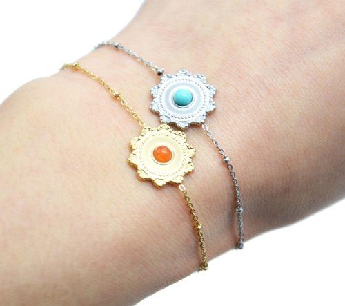 Bracelet-Chaine-Boules-avec-Charm-Soleil-Acier-et-Pierre-Couleur
