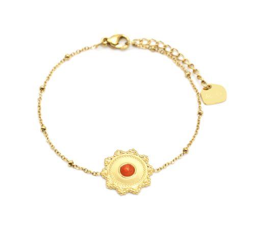 Bracelet-Chaine-Boules-avec-Charm-Soleil-Acier-Dore-et-Pierre-Orange